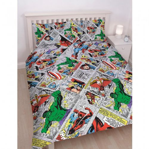 KING SIZE DUVET COVER SET MARVEL AVENGERS COMIC STRIP RETRO THOR HULK SUPERHERO